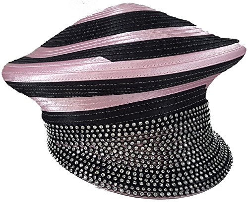 Swan Hat Womens Hats Church Hat Dressy Formal Designer Satin Ribbon Hat Cap Pink Black by Swan Hat