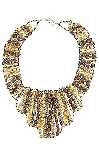 TRENDY FASHION JEWELRY MIX SHAPE JEWEL TRIBAL NECKLACE SET BY FASHION DESTINATION | (Brown) by Fashion Destination