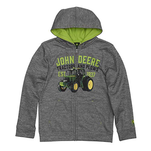 John Deere Big Boys Fleece Hoody Zip Front Poly, Grey, M(10-12)