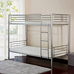 Merax Twin Over Twin Metal Bunk Bed (Silver)
