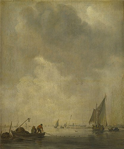 'Jan Van Goyen A River Scene With Fishermen Laying A Net ' Oil Painting, 24 X 29 Inch / 61 X 73 Cm ,printed On Polyster Canvas ,this Cheap But High Quality Art Decorative Art Decorative Canvas Prints Is Perfectly Suitalbe For Gift For Girl Friend And Boy Friend And Home Decoration And Gifts