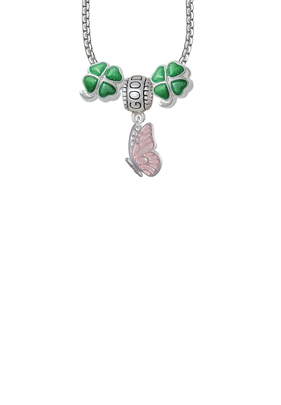 Delight Jewelry Enamel Flying Butterfly Good Luck and Clover 3 Bead Necklace
