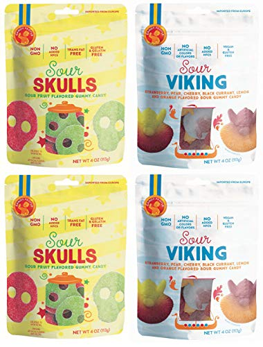 Candy People Sour Skulls and Vikings Sour Fruit Flavored Swedish Gummy Candy 4 Ounce – Non-GMO, No Added High Fructose Corn Syrup (4 Pack)