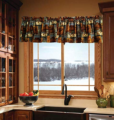 Rustic Valance Curtains, Kitchen Curtains, Lodge Cabin Curtain, Short Outdoor Curtain Valance, Cabin Curtain, Farm House Curtains (41-42 Inches Wide x 15 Inches Long) (Lodge Rustic Valance)
