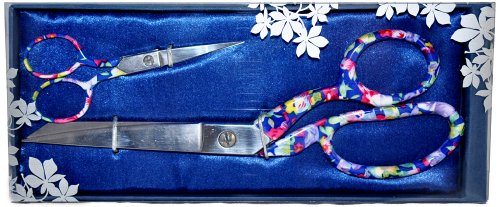 Beautiful Designer Scissors Set Floral Pattern 8 1/2