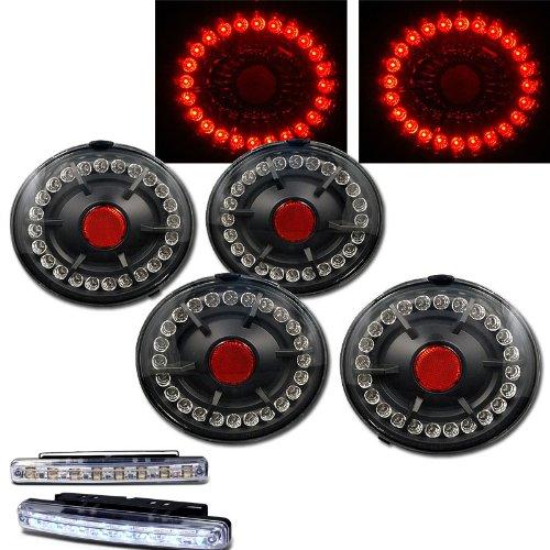2005-2009 CHEVY CORVETTE Z06 REAR BRAKE TAIL LIGHTS BLACK+LED BUMPER RUNNING