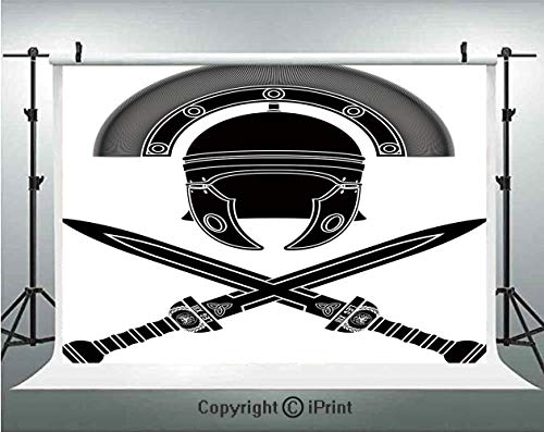 Toga Party Photography Backdrops Classic Roman Helmet and Swords Ancient Knight Symbolic War Illustration Decorative,Birthday Party Background Customized Microfiber Photo Studio Props,5x3ft,Black Grey]()