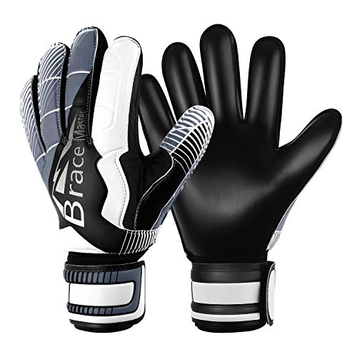 Goalie Goalkeeper Gloves with Fingersaves & Super Grip 3+3mm Latex Palms Soccer Goalkeeper Gloves for Youth, Adult (Black-White, 8) - Kids Goalie Gloves