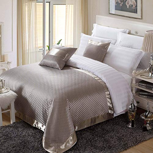 OSVINO Solid Color European Style Luxury Winter Bed Runner Scarf Winter Warm Bed Slipcover Pad Stain Resistant Soft, Grey 260X155cm for 200cm Bed (Matching Scarves Bed Pillows And)