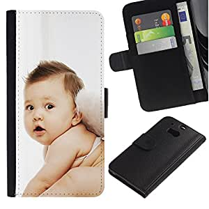 KingStore / Leather Etui en cuir / HTC One M8 / Hada linda del bebé