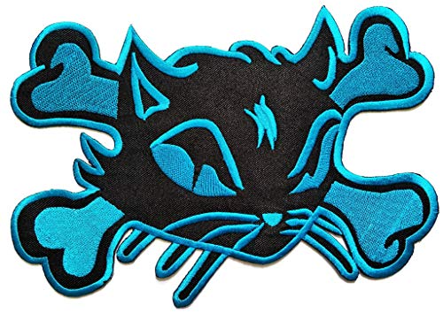 PP Patch Big Jumbo Large Blue Sugar Skull Cat Halloween Ghost Cartoon Logo Back Jacket T-Shirt Patch Sew Iron on Embroidered Sign Badge -