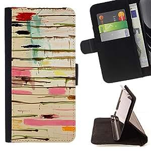 For Sony Xperia Z3 Compact / Z3 Mini (Not Z3) Case , Resumen de pintura de goteo Arte Pollock Líneas- la tarjeta de Crédito Slots PU Funda de cuero Monedero caso cubierta de piel