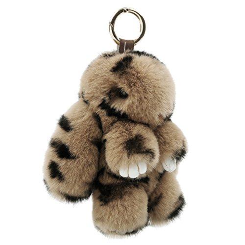 Cute Easter Rabbit Bunny Fur Doll Key Chain for Women Bag Charms, Soft Plush Pom Pom Handbag Key Ring Cellphone Car Pendant Decoration (Leopard)