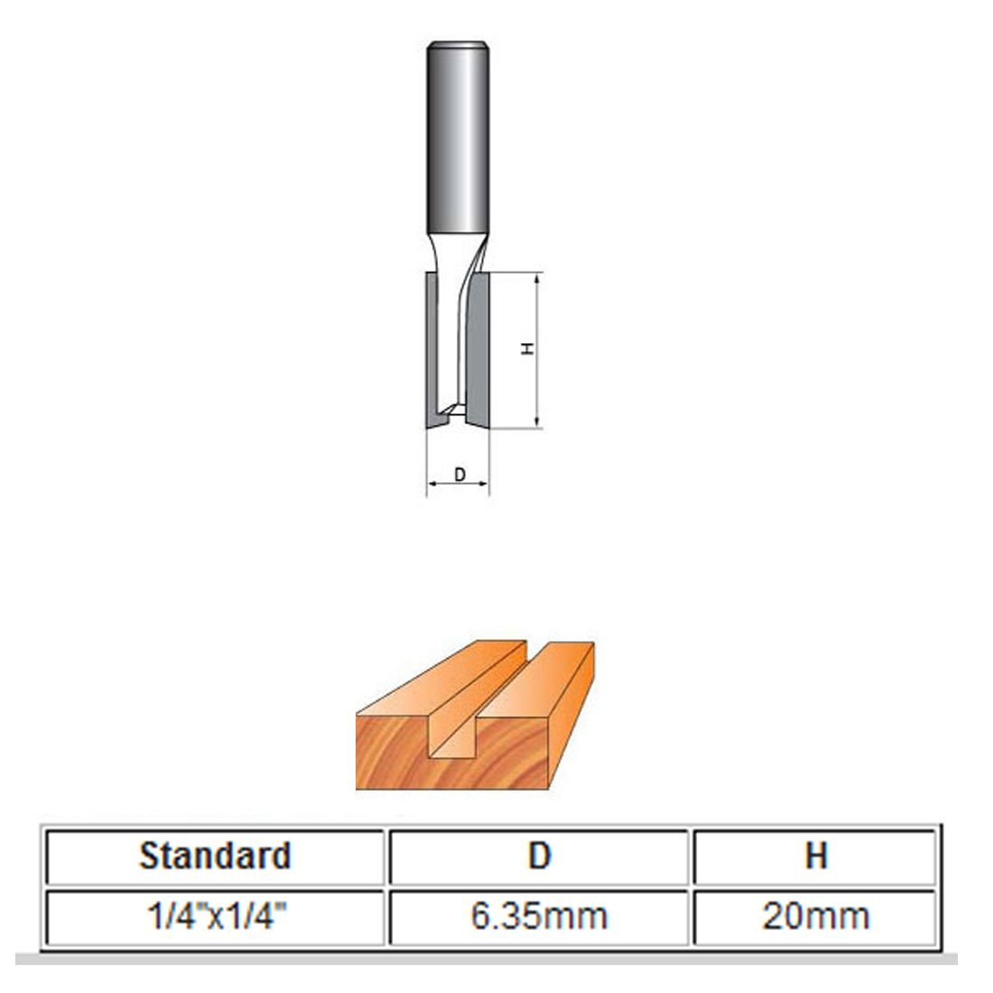 diameter 1//4 inch diameter double flute carbide straight router bit with 25//32 inch length 1//4 inch shank