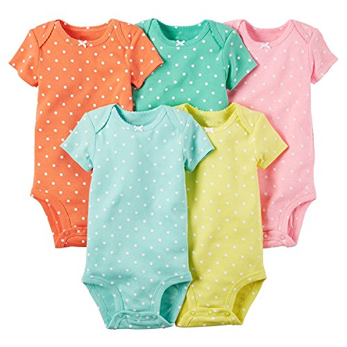 Baby Girls'5 Pack Polka Dot Bodysuit (Baby) Bright Polka Dots Mix 18 (Cute Little Girl Clothing Websites)