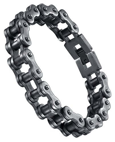 Aoiy Men's Stainless Steel Heavy Biker Bicycle Chain Bracelet, Gunmetal-Color, ccb080wu