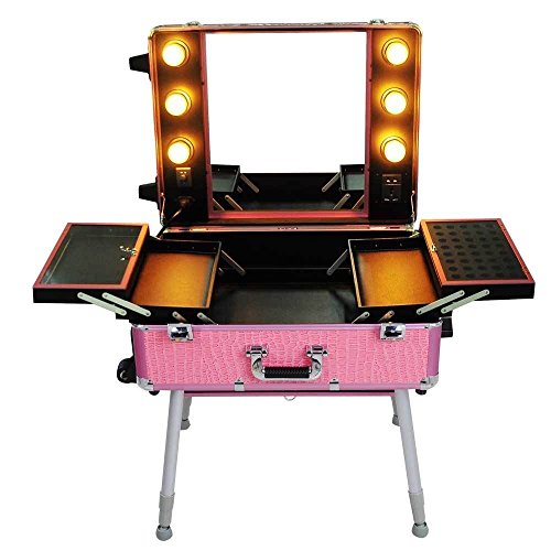 Triprel Inc Pro Rolling Studio Makeup Artist Cosmetic w/ Light Mirror Case Train Table - Pink by Triprel Inc