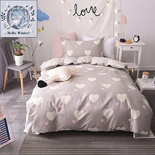 BuLuTu Girls Bedding Duvet Cover Sets Twin Cotton Love Print 3 Pieces Kids Duvet Cover Sets Brown Zipper Closure With 4 Corner Ties For Home Bedding (Advantage Set Bed)