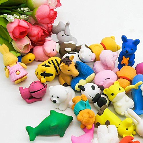 TOAOB 28pcs Adorable Puzzle Animals Erasers Non-Toxic for Kids Fun Games and Collection with Plastic Box by TOAOB (Image #1)