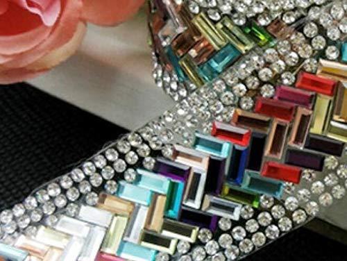 Pukido Rhinestone Tape,Colorful Trimming,1yard/lot,Crystal Cake Trim Crystal Rhinestone Banding,Decorative Trim Rhinestone Topaz Gold - (Color: A2 Mix Color)