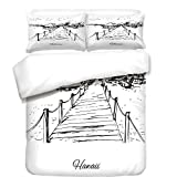 iPrint Duvet Cover Set,Hawaiian,Sketch Style Hawaii Dock Tiki Huts Bungalows Tropical Trees Beachy Boho Decor,Black White,Best Bedding Gifts for Family Or Friends