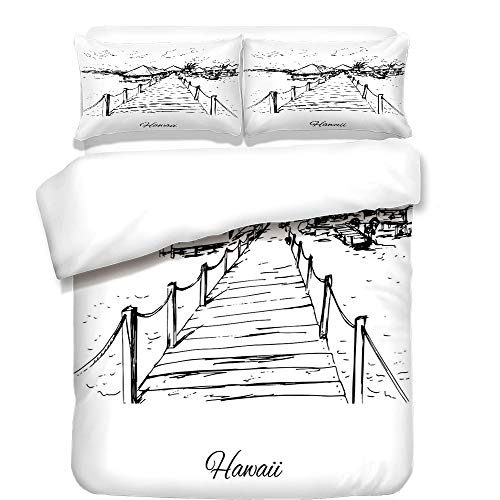 iPrint Duvet Cover Set,Hawaiian,Sketch Style Hawaii Dock Tiki Huts Bungalows Tropical Trees Beachy Boho Decor,Black White,Best Bedding Gifts for Family Or Friends by iPrint