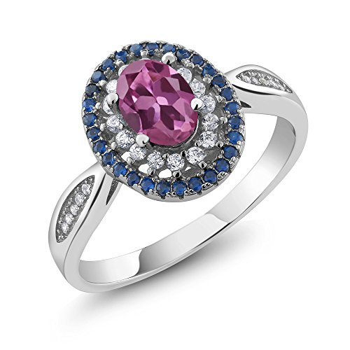 1.45 Ct Oval Pink Tourmaline 925 Sterling Silver Women's Ring (Size 7)