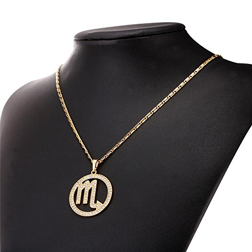 U7 Scorpio Zodiac Pendant Hollow Fashion with Cubic Zirconia Women & Men Birthday Gift Constellation Jewelry 18K Gold Plated Necklace