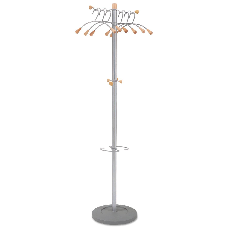 Alba Wavy Coat Rack, Six Hangers/Two Knobs/Four Hooks, Metallic Gray/Mahogany (PMWAVE)