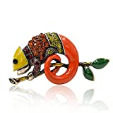 Colorful Enamel Lizard Brooches Rhinestone Vintage Animal Creative Coat Suit Brooch