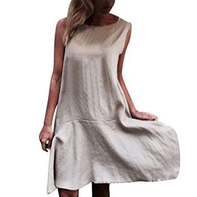 f3ec6c7a2e Amazon.com  Women Cotton Linen Short Sleeve Dress