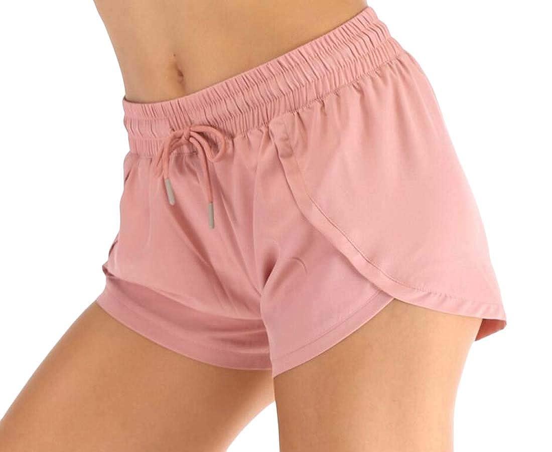 Joe Wenko Womens Elastic Waist Fake Two Summer Casual Sport Running Shorts