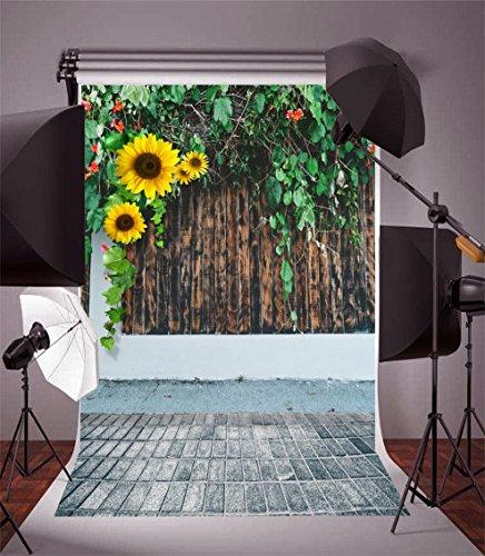(AOFOTO 6x8ft Adult Photo Shoot Background Girl Photography Studio Backdrop Nostalgic Sunflowers Old Wood Window Wall Vine Leaves Worn Brick Floor Lover Artistic Portrait Digital Video Props Scene)