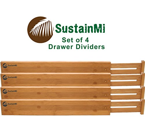 Bamboo Wooden Drawer Dividers | Expandable and Adjustable Kitchen Drawer Organizer |Good for Bedroom, Bathroom, Baby, Desk | Set of 4|