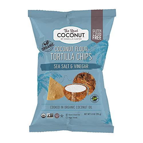 The Real Coconut Gluten Free Coconut Flour Tortilla Chips 5.5oz (Sea Salt & Vinegar)