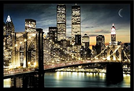 FRAMED Manhattan Lights New York City Skyline 36x24 Art Poster Print  Brooklyn Bridge World Trade Center