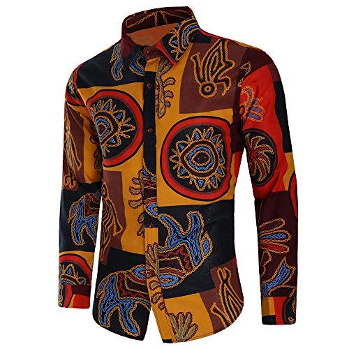 Camicie Moda Giallo Casual Sottile Top Blusa Uomo Da Bhydry Manica Lunga Stampata tSw4UdtnqP