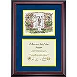 UNC Greensboro Spartans Diploma Frame Navy Gold Matting Watercolor