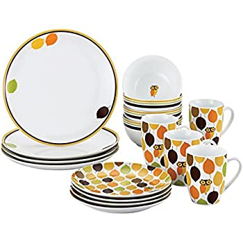 Rachael Ray Dinnerware Little Hoot 16-Piece Dinnerware Set  sc 1 st  Amazon.com & Amazon.com | Rachael Ray Dinnerware Paisley 16-Piece Dinnerware Set ...