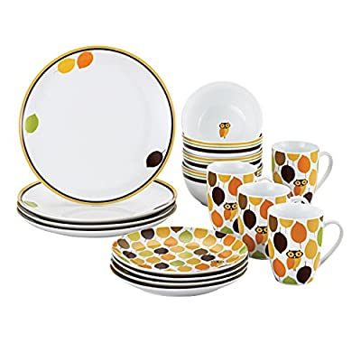 "Rachael Ray Dinnerware Little Hoot 16-Piece Porcelain Dinnerware Set, White - 58069 - 16-piece set: service for 4 includes 4 of each 10-1/2-inch dinner and 8-inch salad plates, 5-1/2-inch/18-ounce cereal bowls and 11-ounce mugs Durable porcelain dinnerware in a fun, contemporary design for casual entertaining, everyday use or special occasions Rich fall-inspired colors in a leaf pattern featuring ""little hoot"" - a whimsical owl character you'll love - kitchen-tabletop, kitchen-dining-room, dinnerware-sets - 51%2BqduzWByL. SS400  -"