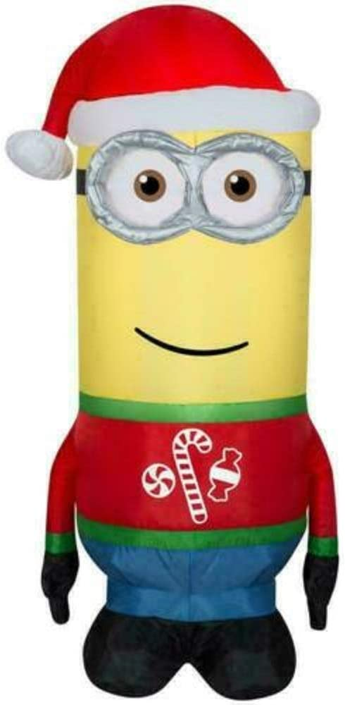 Gemmy Minion Kevin in Santa Hat Christmas Pre-lit Airblown Inflatable 3.5