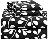 Extra Long Egg Crate Mattress Pad Campus Linens Black with White Vines 4 Piece Full XL Sheet Set for College Dorm Bedding