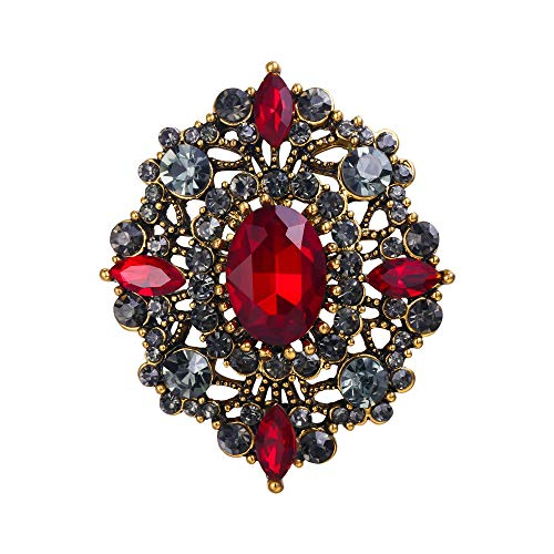 (EVER FAITH Women's Oval w/Marquise Crystal Retro Bridal Bohemia Banquet Flower Brooch Red Antique Gold-Tone)