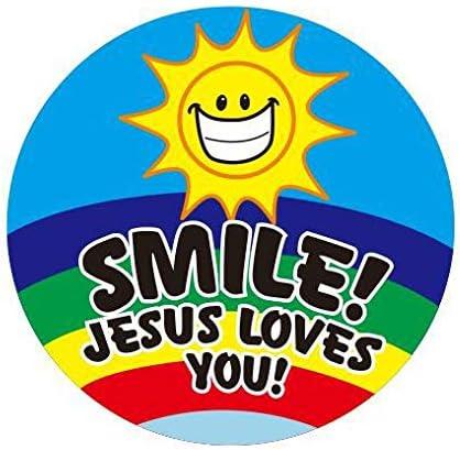 insgesamt 500 Etiketten pro Rolle Geschenk Hybsk Smile Jesus loves you Aufkleber f/ür Gegenst/ände