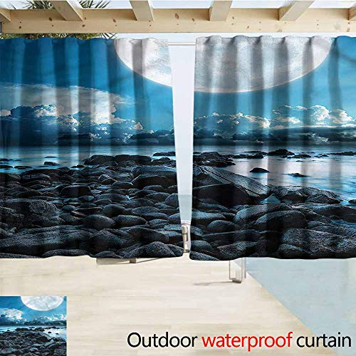 MaryMunger Sliding Door Curtain Ocean Rocky Coast Cloudy Horizon Darkening Thermal Insulated Blackout W55x45L Inches -