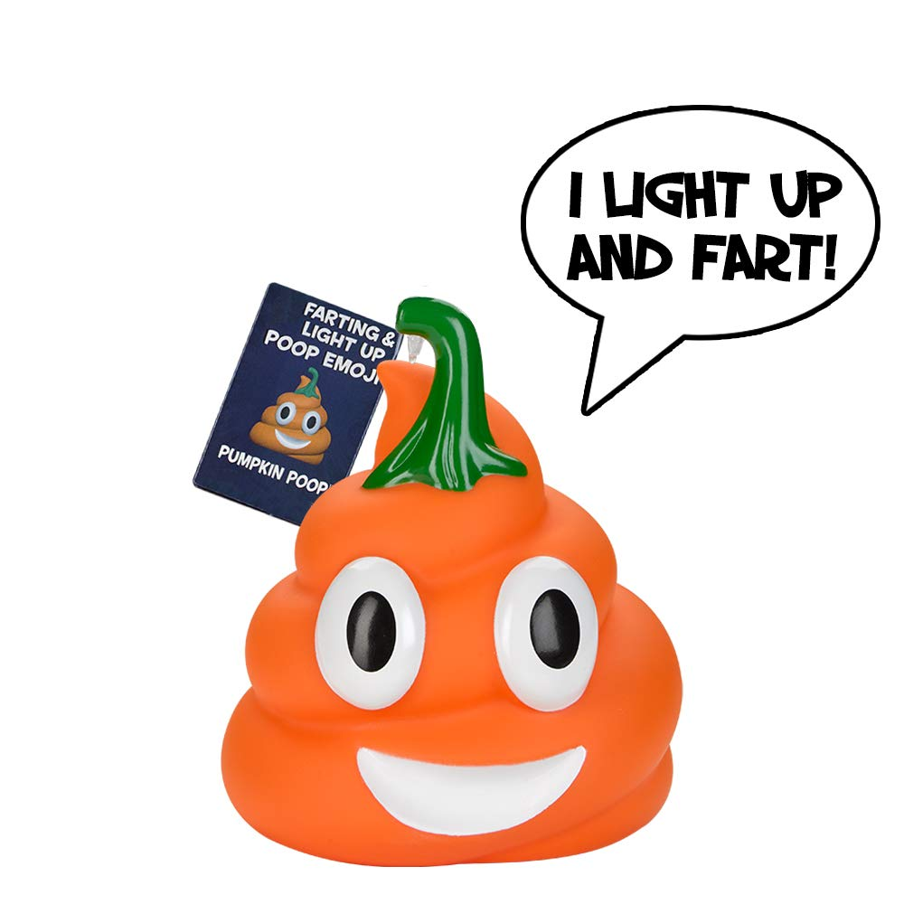 Halloween Pumpkin Poop Emoji - Lights Up and Farts - Great Halloween Toys for Kids - 7 Funny Farting Sounds - Squeeze to Play - Measures a Cute (4 x 4.5) by OUR FRIENDLY FOREST