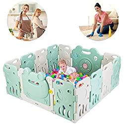JOYMOR Baby BPA-Free Safety Extra Larger Rubber Anti-Skid Playpen Play Yards Baby Fence Kids Activity Center with Locked Door Home Indoor Outdoor 14 Panels Cute Frog