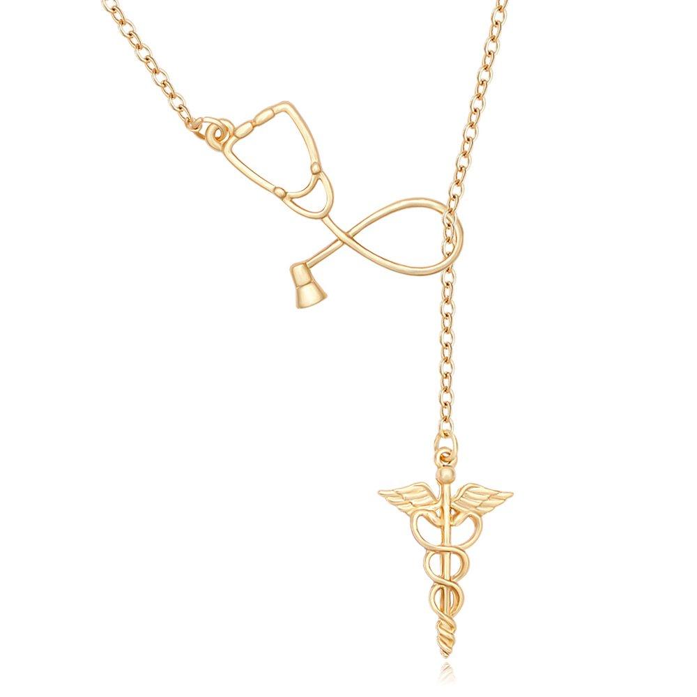 MANZHEN Medicine Stethoscope Caduceus Lariat Necklace for Doctor Nurse (gold)
