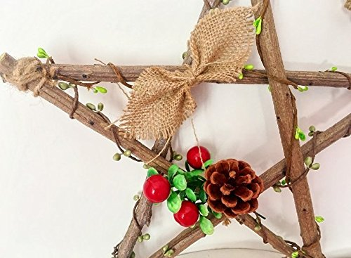 URBeauty 1PCS 30CM/12inch DIY Wooden Christmas Decoration Pinecone Garland Creative Pentagram Shaped Rattan Christmas Wreath Home Furnishing Holiday Window Decorations