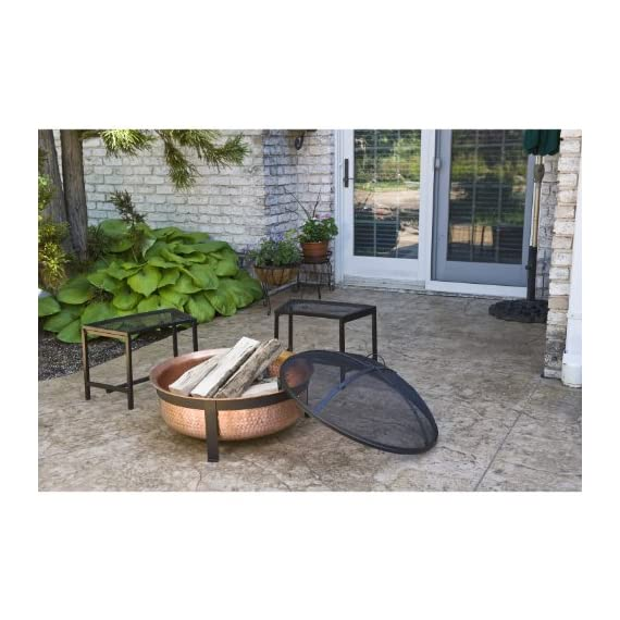 CobraCo SH101 Hand Hammered 100% Copper Fire Pit with Screen and Cover - Make sure this fits                by entering your model number. Extra deep tub for larger and longer lasting fire Sturdy metal construction, contemporary stand design - patio, outdoor-decor, fire-pits-outdoor-fireplaces - 51%2Bqexy5VUL. SS570  -